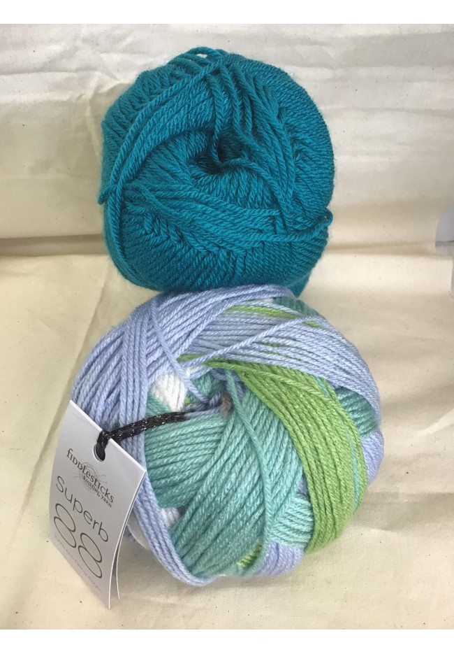 Winter Stripes Hat and scarf kit River