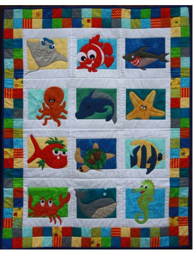 Sea Creatures Cot Quilt pattern