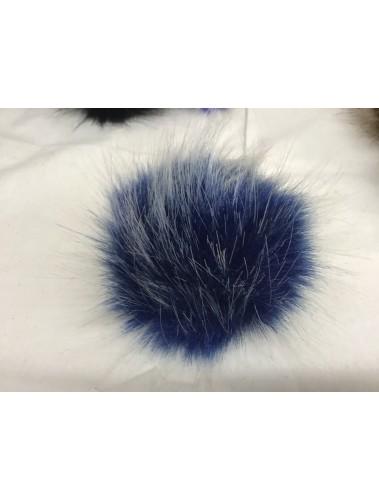 Fluffy Pom Pom 10cm dark Blue white tips